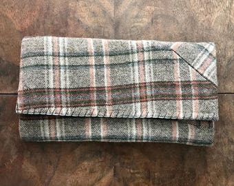 Brown Plaid Wool Trifold Clutch Wallet
