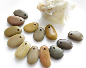 Longish Beach Stones, Top Drilled 13 pcs, Jewelry Supplies, Pebbles for Jewelry Design, DIY,Necklace,Mobile,Crafts,drilled stone
