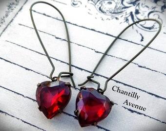 Dark Ruby Rhinestone Earrings, Red Jewel Earrings, Victorian Earrings, Long Dangle Earrings, Heart Earrings, Valentine Jewelry