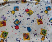 """Sesame Street Fabric Balloons and Confetti 24 x 44"""" of Cute Soft Cotton Flannel Sesame Street Fabrc for Sewing Crafts Novelty Fabric"""