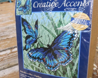 """Small Unopened Needlepoint Kit Blue Butterflies Creative Accents Butterflies in Blue 5"""" x 5"""" Small Needlepoint Kit Two Butterflies"""