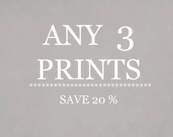 SALE Any Three Prints.  Set Of Three Fine Art Photography Prints