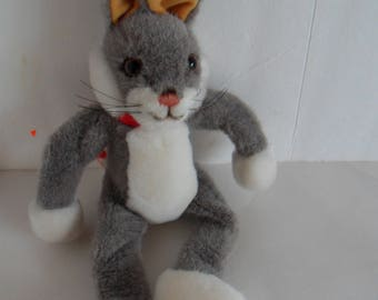 Steiff rabbit button flag grey made in Germany 2331