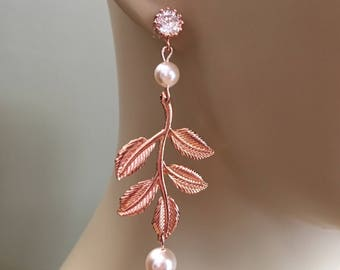 Rose Gold Earrings Long with Creamrose Swarovski pearls and pretty leaf design wedding earrings bridal jewelry mother if the bride