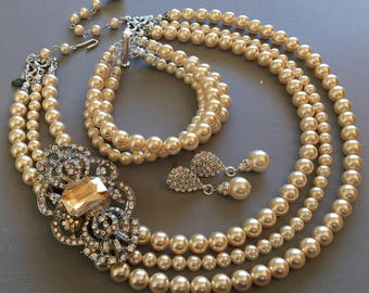 Wedding Jewelry Set Pearl Necklace with Brooch Bracelet and Earrings 3 strands Swarovski Pearls in Light Gold ivory or your choice if color