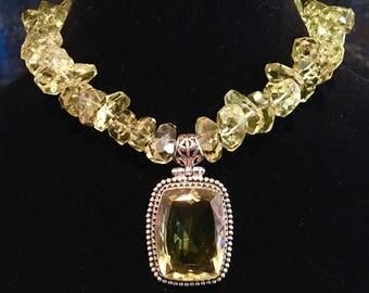 Lemon Quartz Pendant Necklace in sterling silver with lemon quartz nugget beads and amazing sterling silver and lemon quartz box clasp