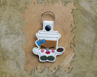 Animated Funny Face Coffee Cup Key Fob, Key Chain, Luggage Tag, Bag Clip, Vinyl, Key Ring, Back Pack Pull, Purse Charm