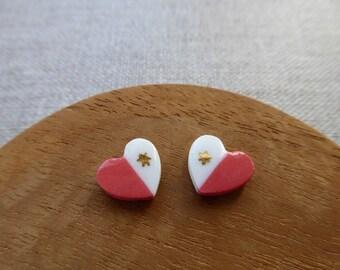 Love Heart 2 Tone Porcelain Stud Earrings