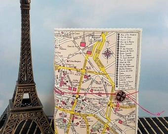 Travel Sale Petite Romantic Paris France Travel Journal with Vintage Sightseeing City Map Cover