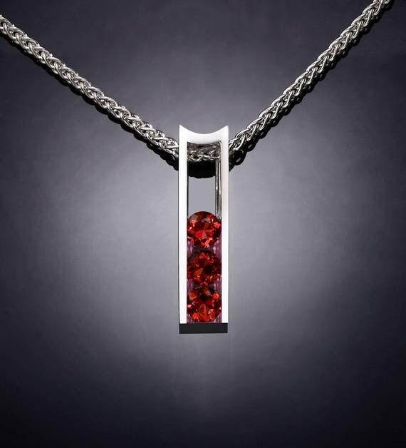 garnet necklace, garnet pendant, January birthstone, Mozambique garnet, red gemstone, Argentium silver, gemstone jewelry, for her - 3503
