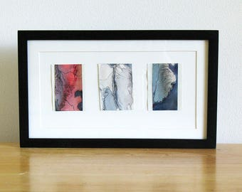 Small original watercolor art, red and blue abstract art, Boreal Triptych