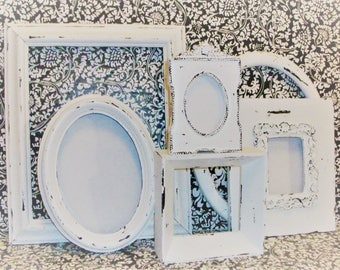 Set of 6 Chippy White Picture Frames for Gallery Wall, Wedding Decor, Nursery Decor