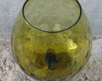 green brandy snifter optic design olive green glass mid century decor mid century glass