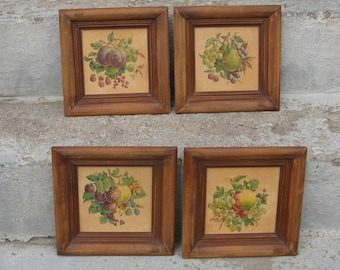 framed fruit pictures set of 4 beveled wooden frames french country