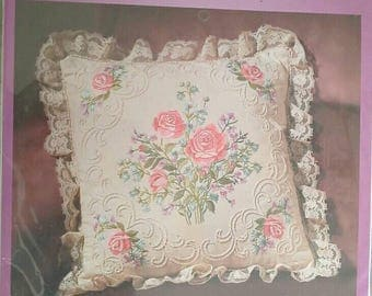 Roses Candlwicking Embroidery Pillow Kit Janlynn 04-762