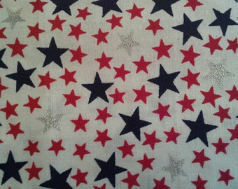 Red Blue and Silver Metallic Stars on White Cotton Fabric 2 Yards X1184