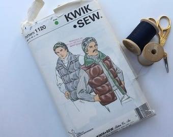 Men's Quilted Vest Pattern/Vintage KWIK SEW  #1120 Sewing Pattern/Mens Puffy Vest