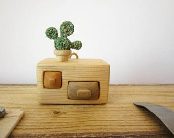 Wooden shelf with cactus in pot, wood carving, miniature wall hanging, small furniture, doll house furniture