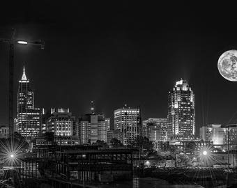 Raleigh, Downtown Raleigh, North Carolina,Large,Oversize,Black and White,Wall Art,Home Decor,Office Decor,Moon,Super Moon,Skyline