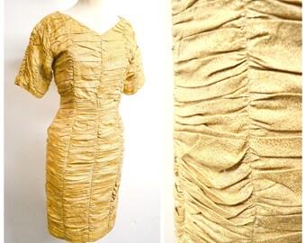 1950s Gold lamé ruched wiggle dress / 50s metallic lurex cocktail dress - XS