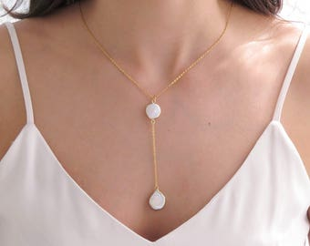 Wedding Lariat | Pearl Necklace for Women | June Birthstone | Birthstone Lariat | Pearl Wedding Lariat | Gold Y Lariat | Lariat Necklace