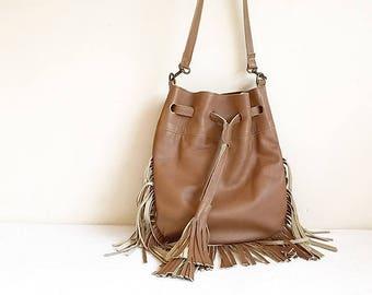 Brown Leather crossbody Bag, Soft Leather Bag, small Leather messenger Bag, Shoulder Bag, Leather Tassel Bag, Fringe Purse,brown purse Bag