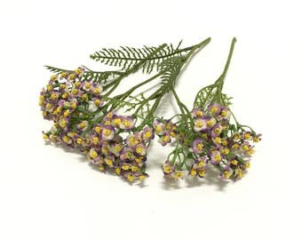 3 Stems Lavender Artificial Forget Me Not Blossom Clusters - Artificial Flowers, Silk Flowers, Flower Crown, Hair Accessories, Wedding, Hat