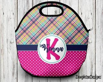 Neoprene lunch tote, Personalized lunch bag, Monogram lunch bag, Back to school, Personalized lunch tote, Insulated lunch bag, lunch box