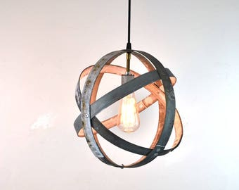 ATOM Barrel Ring Pendant Light -  Handmade Wine Barrel Ring Light 100% recycled Napa barrel rings