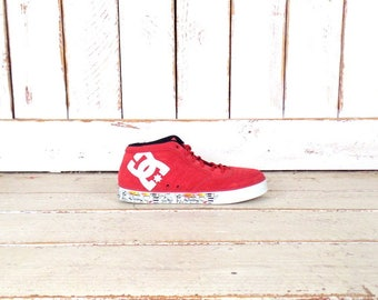 Red DC skater tennis shoes/red suede leather sneakers/skull/grafitti art/skate boarding athletic shoes/9.5