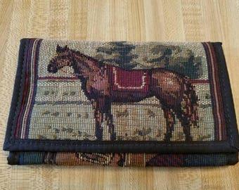 Vintage Textile Horse Wallet 1990s Velcro