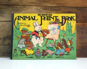 Antique Coloring Book / Burgess Animal Paint Book / Harrison Cady Illustrations