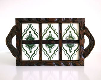 Vintage Tiled Wood Tray / Chunky wood breakfast serving tray
