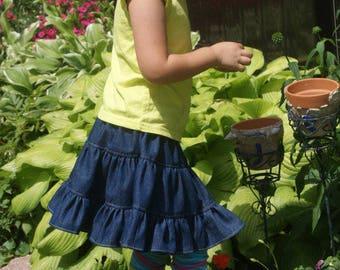 Denim Triwl Skirt, Infant, Toddler Youth Girl Twirl Skirt