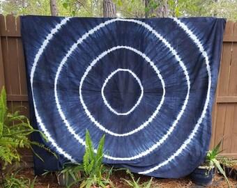 Shibori Tie Dyed Blue and White Tapestry Boho Hippie Tapestry Beach Yoga Dorm Decor College Life Beach Blanket Yoga Mat Meditation Mat