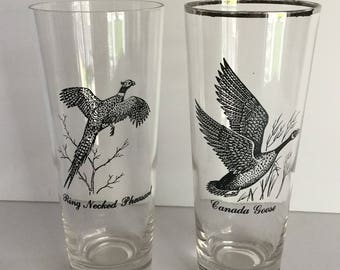 Vintage Sportsman Game Bird Glasses, Game Bird Tumblers, Federal Glass, Retro Barware, Man Cave