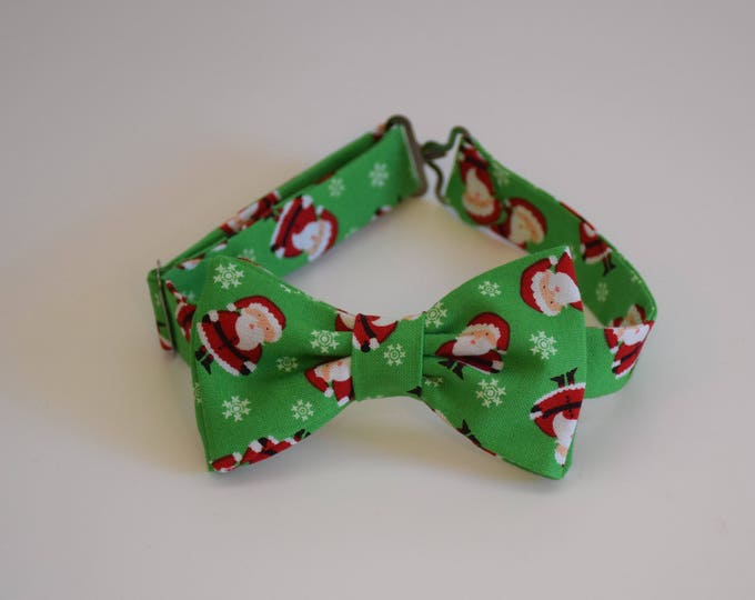 Boy's pre-tied Bow Tie, Christmas green/red Santa Claus bow tie, father/son bow tie, custom holiday boy's bow tie, toddler Christmas bow tie