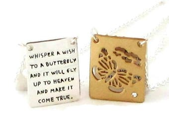 ON SALE Butterfly Necklace  / Sympathy Gift / Inspirational Jewelry / Memorial Jewelry / Memorial Necklace / Grief Jewelry