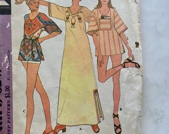 70s McCalls 3247 Tunic Swimsuit Cover-Up, Muu Muu Caftan Dress Size 12 14 Bust 34 36
