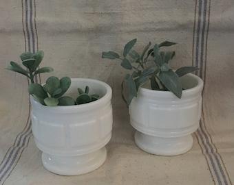 2 Milk Glass vases/planters