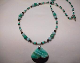 Green Lake Chalcedony Teardrop Necklace