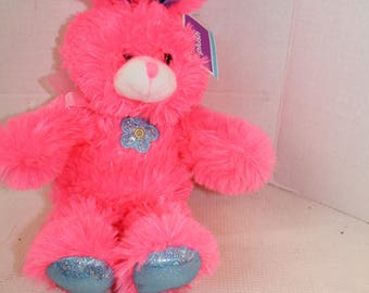 Neon Pink Plush Bunny Rabbit Plush Stuffed Animal Baby Easter  NWT