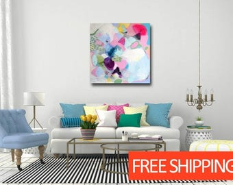 Large Abstract Wall Art Print,  Pink White Green and Blue Abstract Painting, Large Giclee Print,  Modern Artwork, Expressive Abstract Canvas