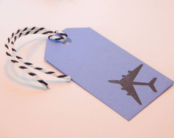 JET PLANE Tags - Qty 12 - Small Tag - 1 5/8 x 3 1/4 inches - Favor Packaging - Plane birthday - Airplane - Jet party - Blue and black