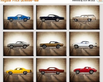 WEEKEND SALE Vintage Muscle Cars Set of Nine Canvas Prints, Nursery Decor, Rustic Decor , Boys Wall Art, Car Prints, Boys Wall Art, Boys Roo