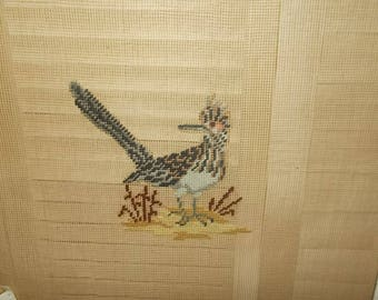 "Vintage Needlepoint Canvas-Roadrunner in Desert-Reynolds-20"" x 19""-#2"