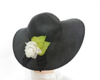 Vintage black hat, 1960s straw picture hat with white rose, wide brim