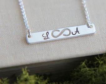 SALE, Bar Necklace, Sterling Silver Bar Necklace, Infinity Bar Necklace, Infinity Necklace, Personalized necklace, BFF Gift,Infinity Jewelry