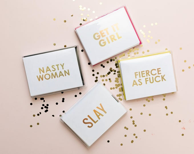 Slay, Fierce As Fuck, Get It Girl, Nasty Woman Foil Stamped Christmas Greeting Card with Envelope, 1 CT.