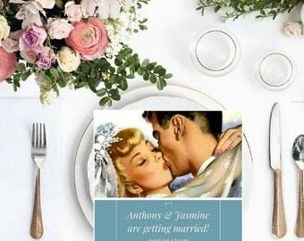 Retro Initials Save The Date, Vintage Design Wedding/Engagement Invitation, digital download, customizable